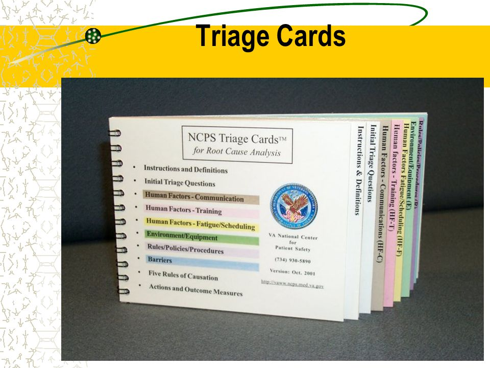 Triage Cards [Human beings are hard-wired not to be able to do a good root cause analysis.]